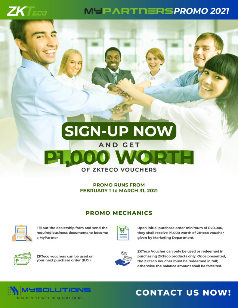 MyPartners Promo 2021: Sign-up and get P1000 ZKTeco Vouchers